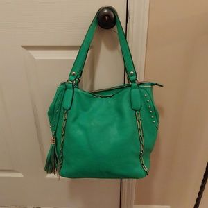 Kelly Green Purse with metal embellishments